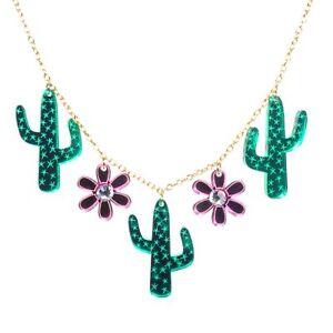 Amour Boutique Cactus Acrylique Pendentif Collier Or Mignon