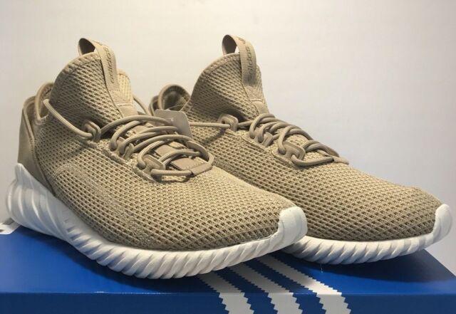 69f162a6f617 Adidas Mens Size 11 Tubular Doom Sock Primeknit Trace Khaki White Shoes New