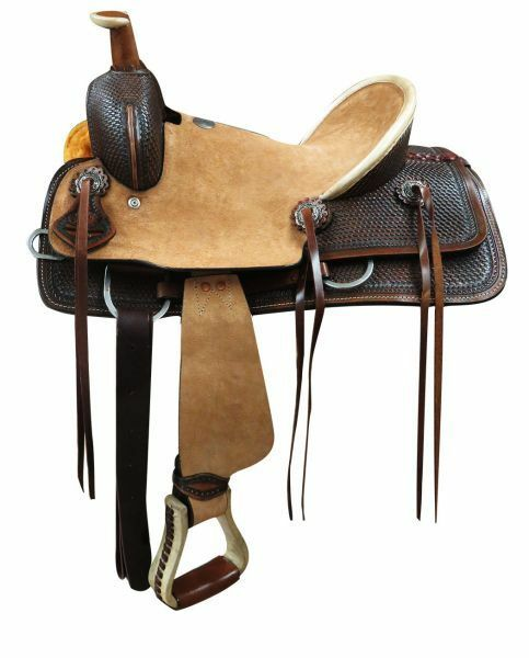 Youth Hard Seat Roper Style Saddle Rough Out Leather Hard  Seat 12  or 13  NEW  welcome to buy