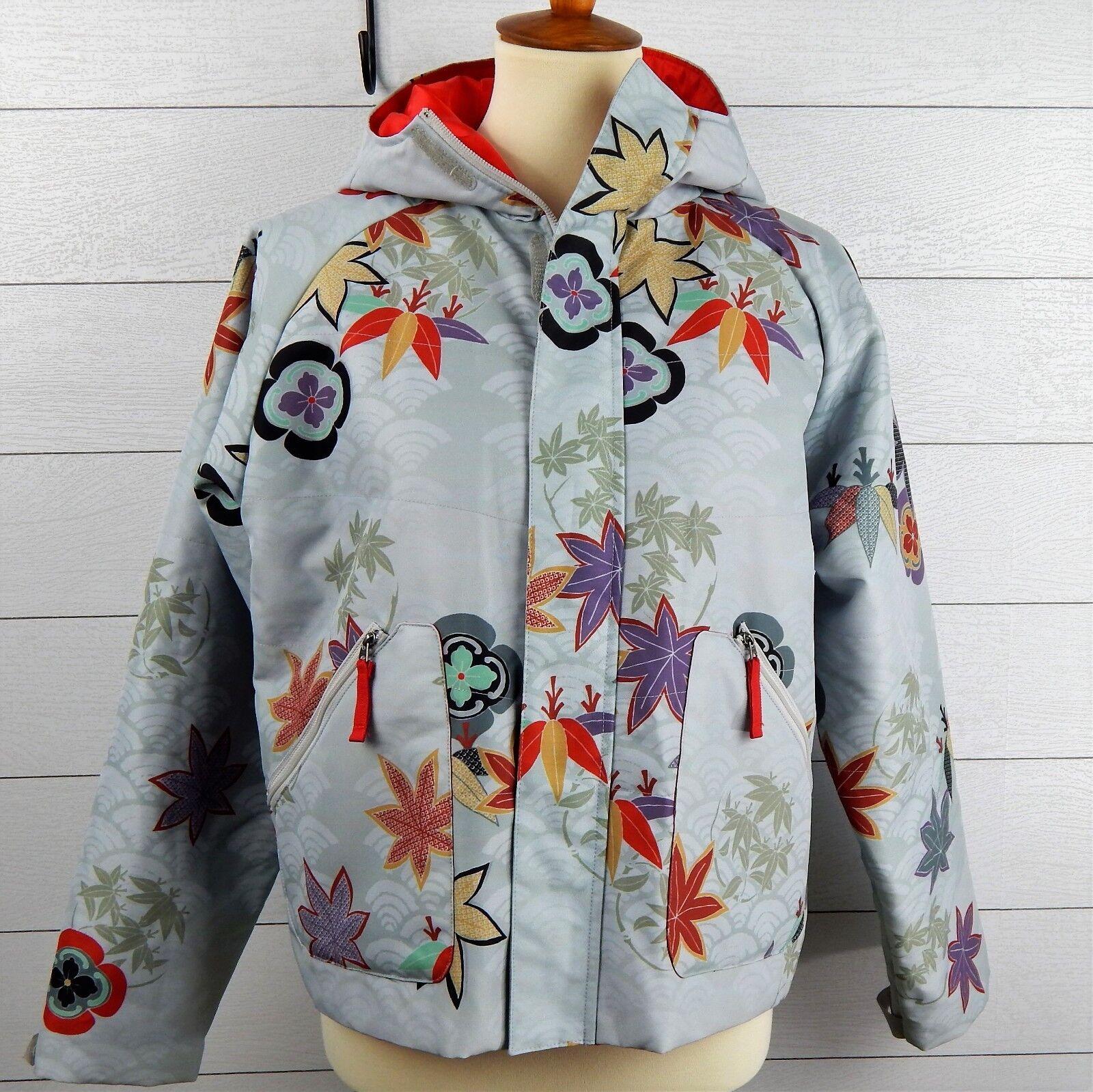 Gelanots Womens Multi-color Floral Pattern Hidden Zip-up Winter  Sports Ski Coat  save 50%-75%off