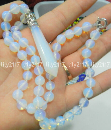 "8mm Healing Chakra Reiki Opal Opalite Stone Pendant Necklace 18"""