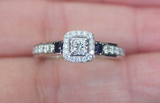 New Sz 7 14K Princess Diamond & Blue Sapphire Halo Engagement Ring White Gold