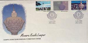 Malaysia-FDC-with-stamps-01-10-1999-Kuala-Lumpur-Tower