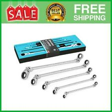 Extra Long Flex Head Double Box End Ratcheting Wrench Set Sae 516