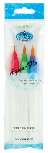 Set 3 Aqua Flo artistas flujo de agua Acuarela Pintura Cepillos pequeñas medianas grandes