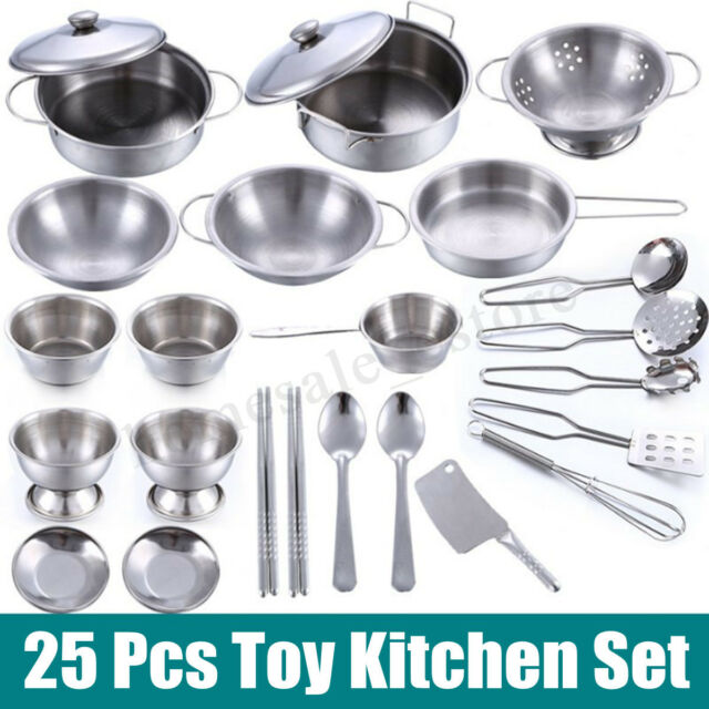 25 Pcs Kids Play House Kitchen Toys Cookware Cooking Utensils Pots