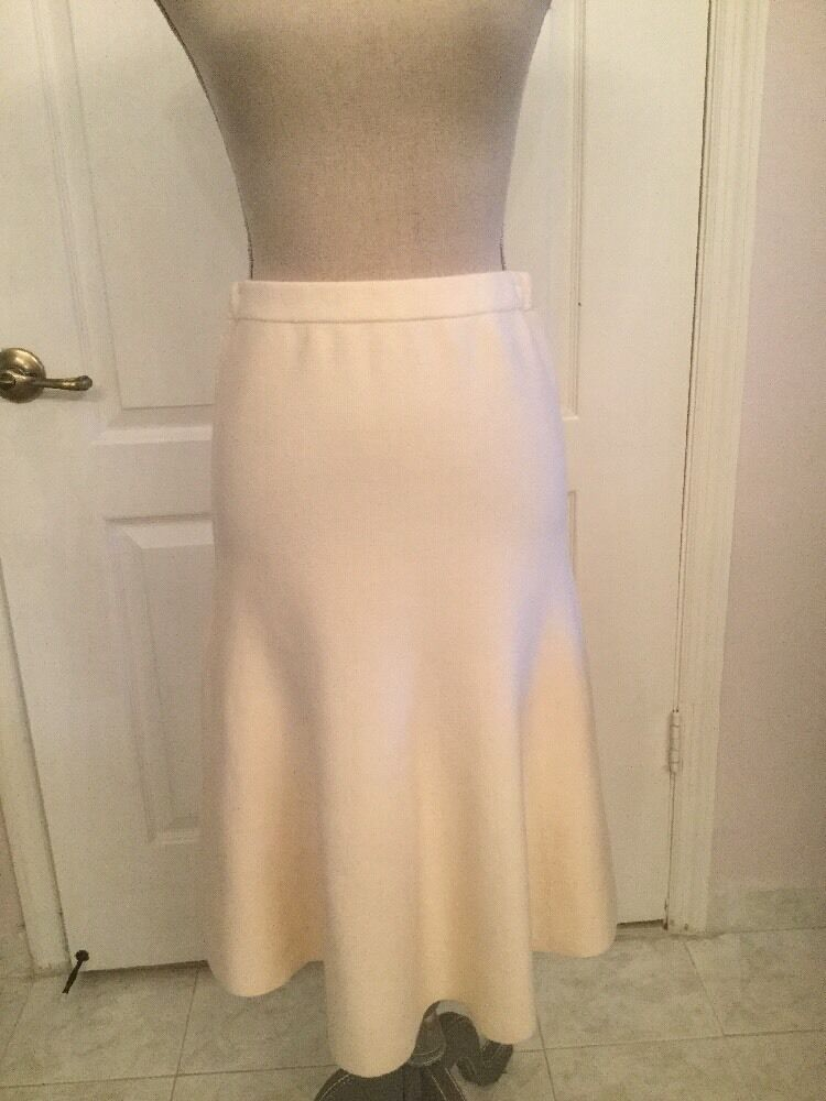 Iris & Ink Ivory Wool Knit Flare Skirt Size M NWT