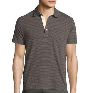 Billy-Reid-Men-039-s-Short-Sleeve-Pensacola-Striped-Pocket-Polo-Shirt-Grey-XL