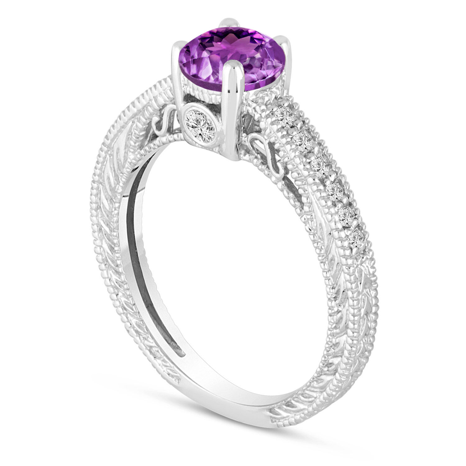 0.70ct Purple Amethyst Engagement Ring With Diamonds Wedding Ring 14K White gold