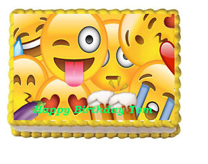 Image Is Loading Emoji Edible Frosting Cake Topper Decoration Birthday
