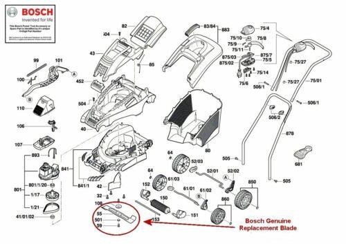 Bosch Véritable Rotak Lame version pour s/'adapter Rotak 34 /& ROTAK 34GC Électrique Tondeuses