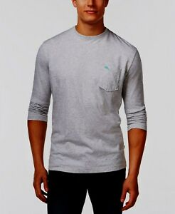 L XL New Tommy Bahama Gray Heather Casual Lounge Crewneck Short Slv T-Shirt Mens