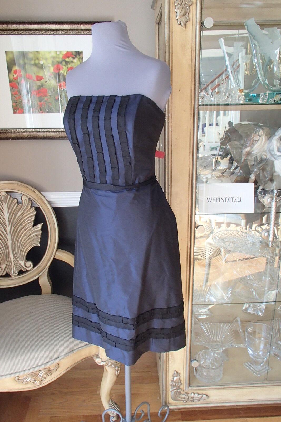 A1650 LELA ROSE LR106 NAVY BLUE BLACK SZ 10 COCKTAIL PARTY PROM GOWN DRESS