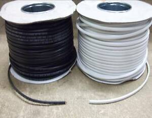 FLAT TWIN LIGHTING CABLE 0.75MM BLACK WHITE 1 - 50 METRE 6 AMP YOU CHOOSE LENGTH