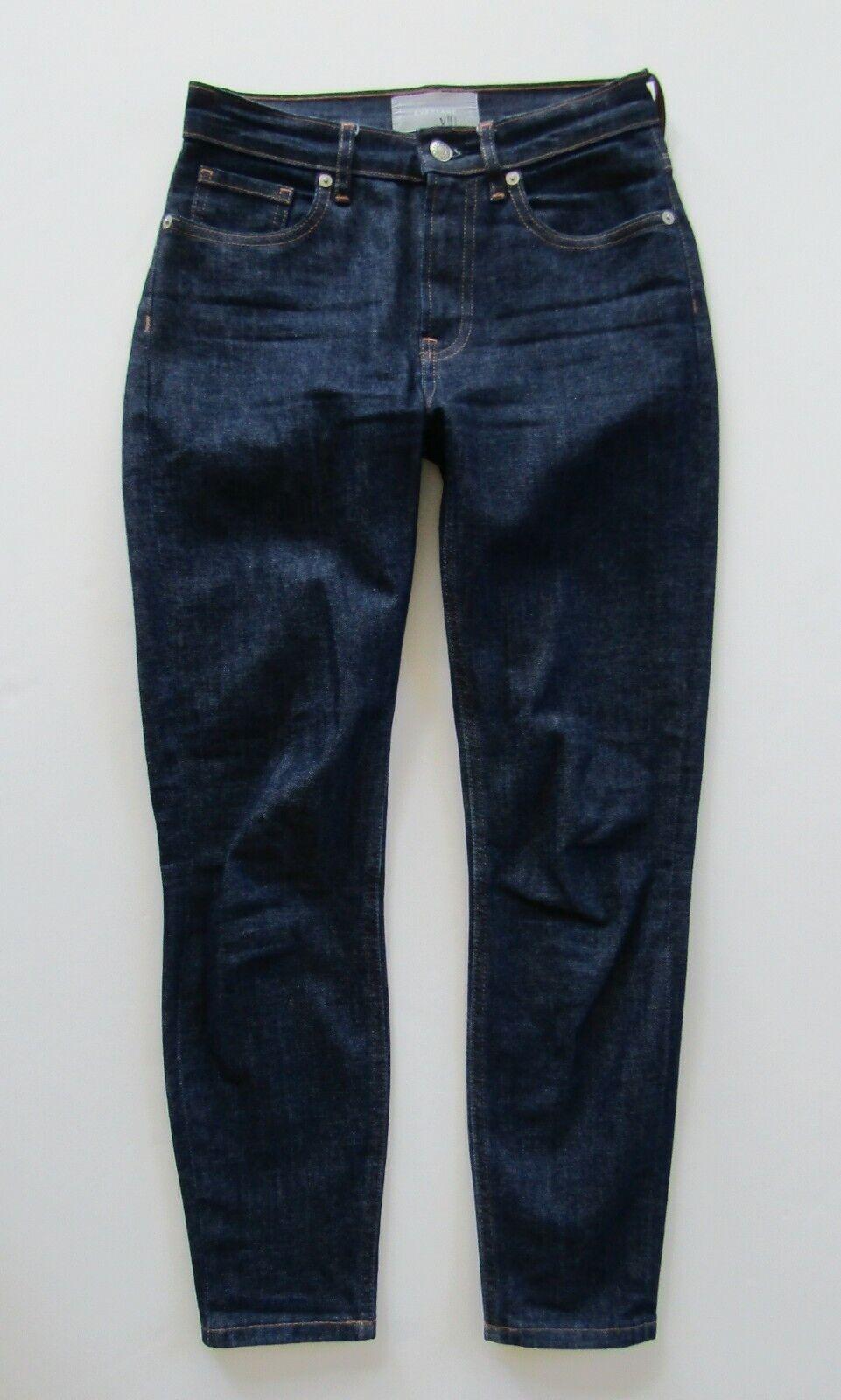 EVERLANE High Rise Skinny Ankle Crop Jean, Dark Wash - Size 25