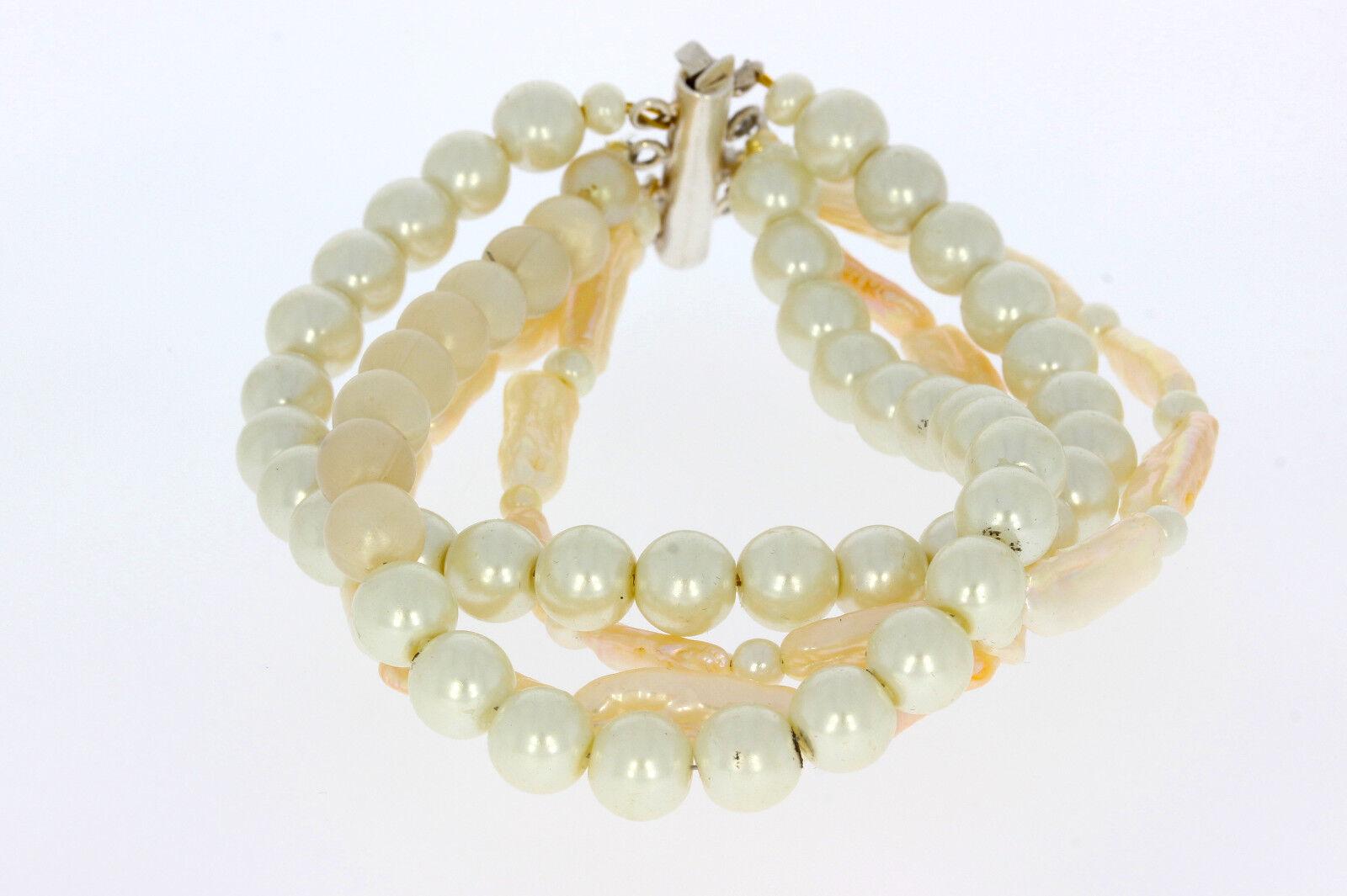 A0286-4 Reihige Perlenarmkette lang 22 cm Breit 2,5 cm Gewicht 49 Gramm