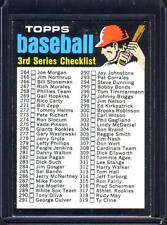 Checklist 1971 Topps Baseball 3rd Series Card # 206 Unmarked EXCELLENT !