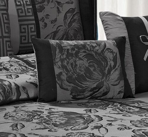 7 Piece Grey Black Peony Printed Flower design Comforter Sets Queen King CalKing