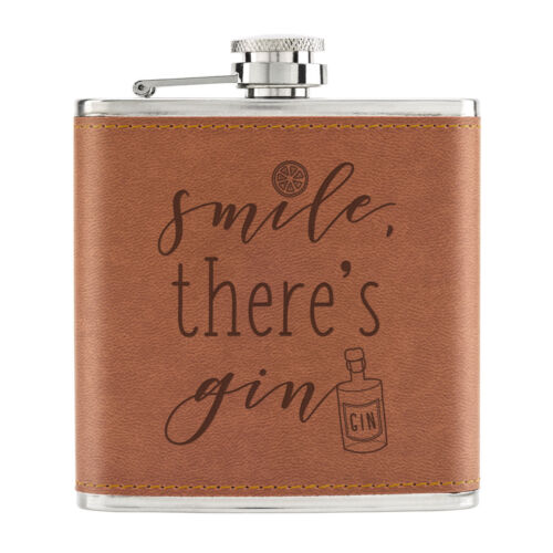 Smile There/'s Gin 6oz PU Leather Hip Flask Tan Funny Tonic Drinks