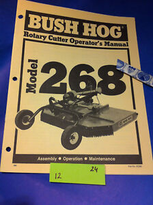 Details about Bush Hog MODEL 268 ROTARY CUTTER Operation Assembly Catalog  Manual Book