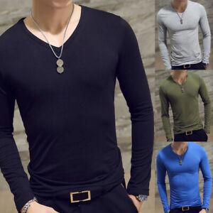 Men-039-s-V-Neck-Long-Sleeve-T-Shirt-Slim-Fit-Casual-Solid-Color-Basic-Tee-Shirts-UK