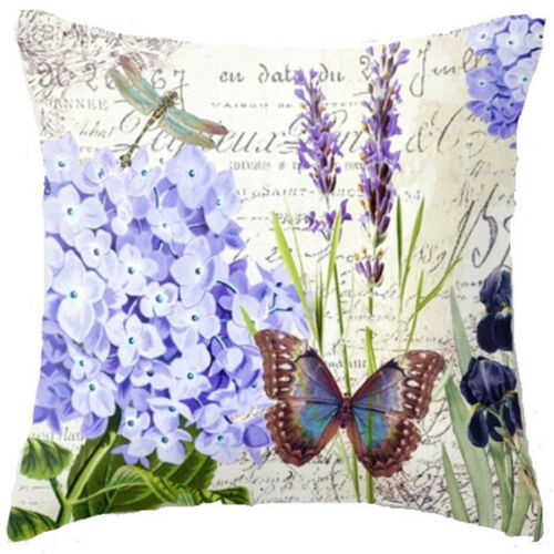 "18/"" Flowers Butterfly Cotton Linen Pillow Case Cushion Cover Home Decor"