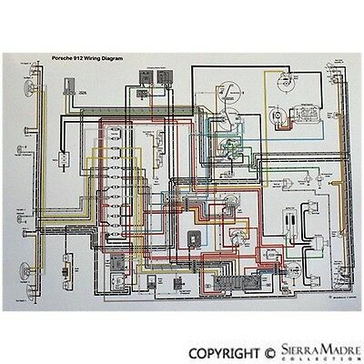 1967 porsche 912 wiring diagram full color wiring diagram  porsche 912  3 gauge   65 67  ebay  full color wiring diagram  porsche 912