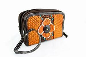 Ladies Women Straw Purse Double Zip Orange Brown Turquoise