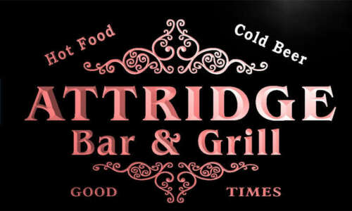 u01576-r ATTRIDGE Family Name Bar /& Grill Cold Beer Neon Light Sign