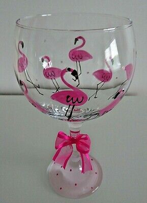 FLAMINGO Pink Glitter Large GIN Glass PERSONALISED Hand Painted Gift Wrapped