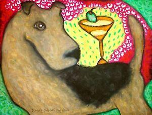 Airedale-Terrier-Martini-Balancing-Act-Pop-Art-Print-8x10-Dog-Collectible-KSams