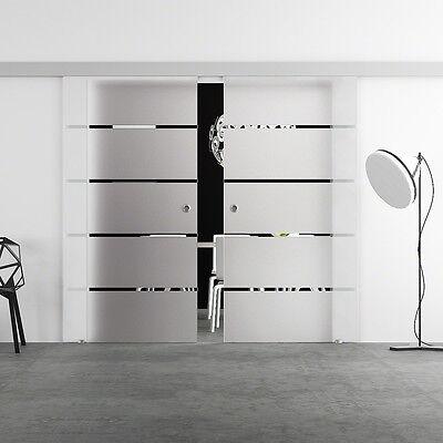 Doppel Glasschiebetür 2x 775 x 2050mm Glastür Schiebetür LEVIDOR BA2S7M