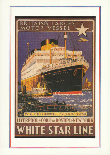 A  BEAUTIFUL  /' WHITE  STAR  LINE /'  SHIPPING  PRINT COLLECTABLE-CARDS.COM