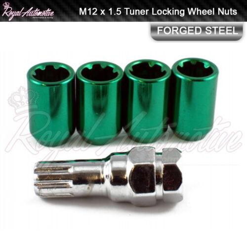 4 M12x1.5 Tuner Locking Wheel Nuts Slim Drive Ford Focus Mondeo Fiesta Green