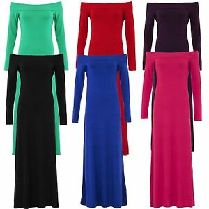 New Womens Full Sleeve Off Shoulder Plus Size Plain Long Maxi Dress 8-22