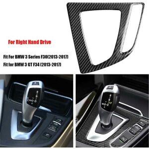 Carbon-Fiber-Shift-Gear-Panel-Trim-Cover-Sticker-For-BMW-F30-F34-3GT-13-17-RHD