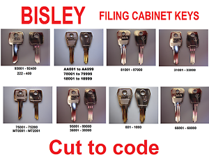 replacement Bisley filing cabinet Keys Cut to Code all key types