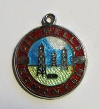 Vintage EDMONTON Canada enamel silver travel disc shield charm bedeltje