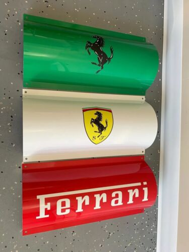 Amazing Italian  Tricolore  Ferrari 3 Curved Panel Reproduction Garage Sign