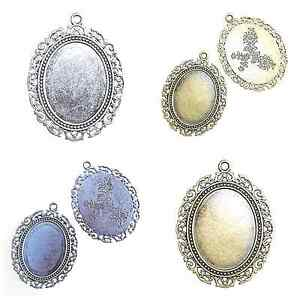 2 large antique silver or bronze oval cabochon pendant settings 30 x 2 large antique silver or bronze oval cabochon aloadofball Images