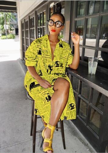 Woman Hip Hop Long Sleeve T-shirt Dress The newspaper Printed Button Lapel Dress