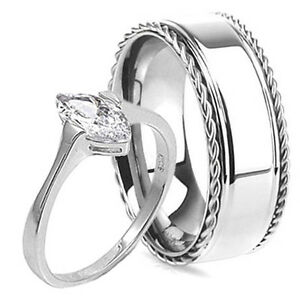 his hers womens sterling silver mens stainless steel