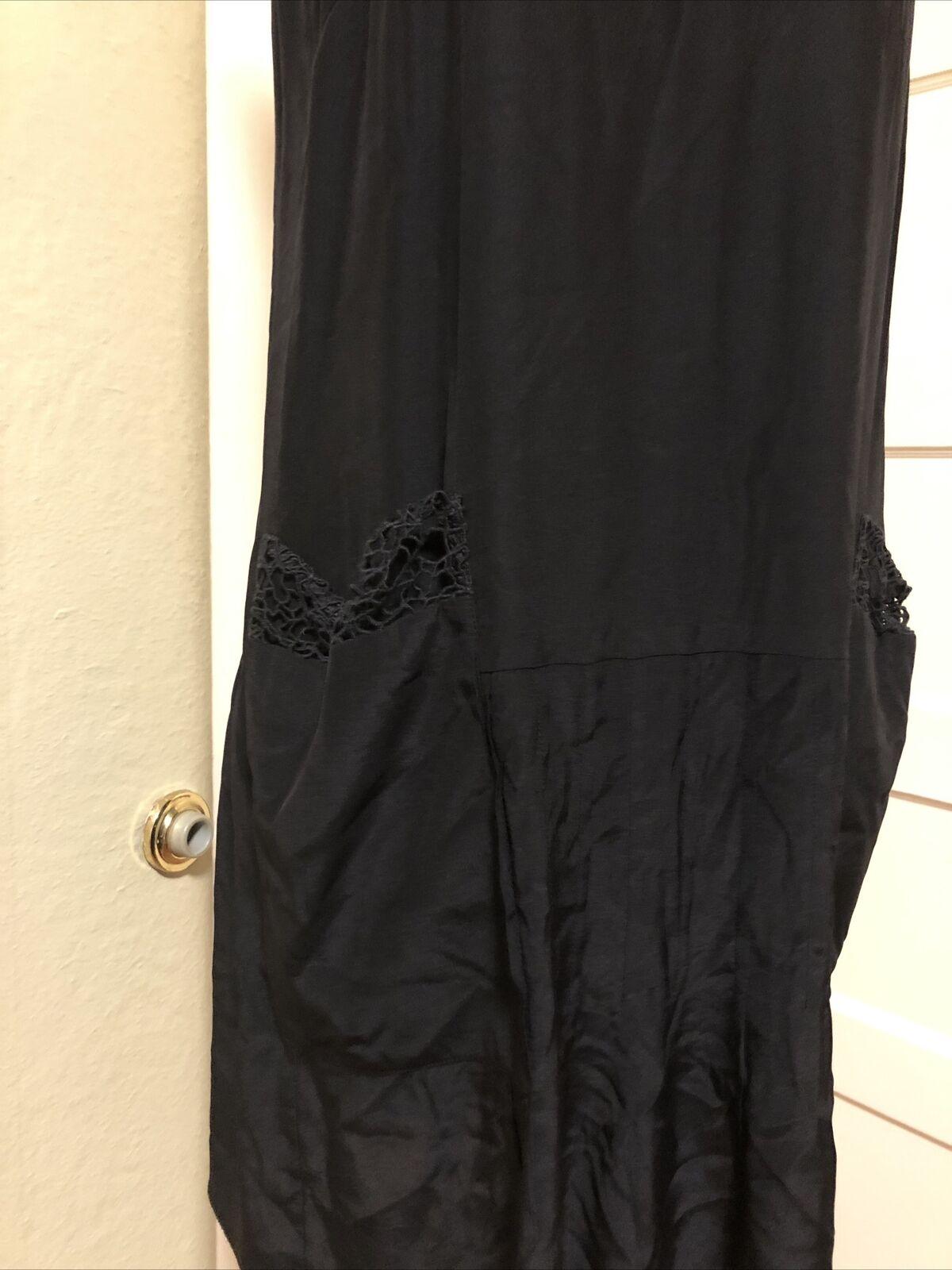 Rag And Bone Black Silk Dress Pockets 6 Mesh Neck… - image 2