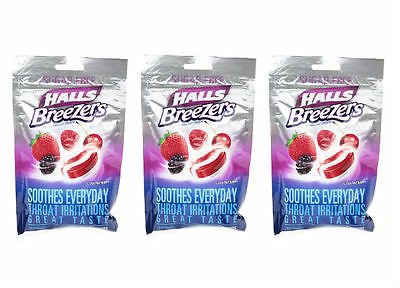 3 PACK Halls Breezers Sugar Free Pectin Throat Drops Berry 20CT 312546632233DT