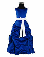 Dark Blue And White Sash Bridesmaid Party Flower Girl Dress 7-8 Years