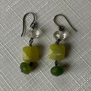 SILPADA-Sterling-Silver-925-Canadian-Olive-Green-Jade-Crystal-Earrings-W1240