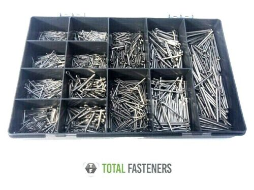 Assorted Imperial A2 Stainless Steel Split Pins//Cotter Pins 1000 Pcs