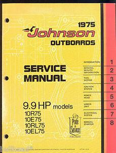 1975 johnson 10r75 10e75 10rl75 10el75 9 9hp service manual rh ebay com