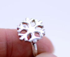 Cute adjustable silver colour snowflake ring
