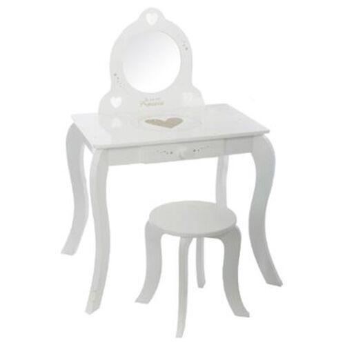 L60 x l40 x 91 cm Dim Coiffeuse enfant avec Tabouret coloris blanc en bois